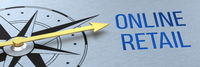 Compass needle pointing to the words Online Retail - 3d rendering