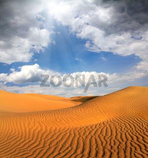 cloudy evening desert landscape
