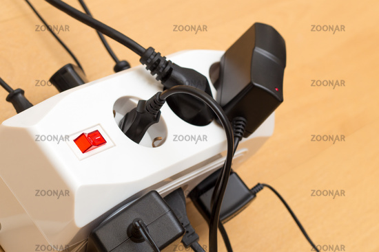 Many plugs in a power strip