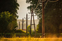 Electric line on wooden poles going through rural area fields