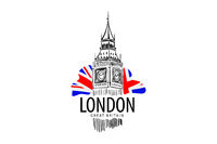 Vector drawing of Big Ben in London on a white background
