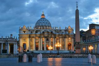 Saint Petres Basilica at evening in Vatican.