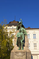 The statue of France Prešeren in Ljubljana, Slovenia