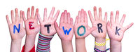 Children Hands Building Word Network, Isolated Background