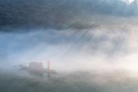 river in mist closeup