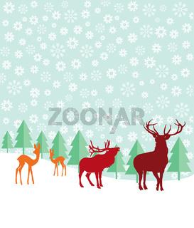 Rehe und Hirsche im Schnee.jpg