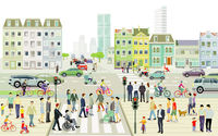 City landscape with road traffic and pedestrians, illustration