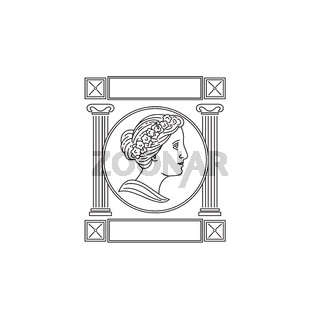 One of the Nine Greek Muse in Ancient Greek Mythology Viewed from Side with Pillar Monoline Style