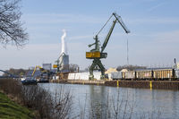 Crane at the harbor of the Datteln-Hamm-Canal, Luenen, Ruhr area,