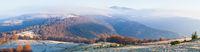Autumn morning mountain panoramic view, Carpathians