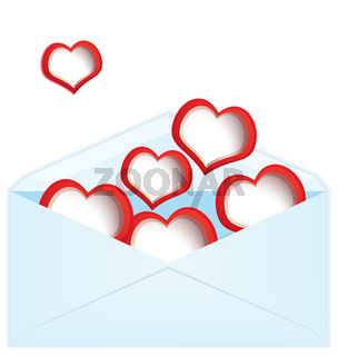 Red hearts and envelope