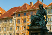 City facades and sightseeing in Graz / Austria at sunset. Travel and holiday concept.