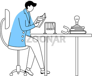 Scientist at his working place flat contour vector illustration. Man in blue lab coat. University professor simple drawing. Physicist sitting and reading book isolated outline cartoon character