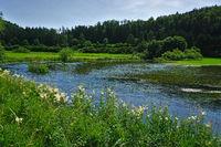 Die Lauchert auf der Schwäbischen Alb überschwemmt die Wiesen