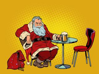 Santa Claus drinks beer at the bar, Christmas holiday after work