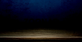 Large table top made of solid dark wood, dark blue background - Vector