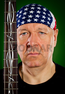 man with a guitar, bass player