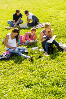 Students studying sitting in the park teens