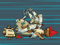 Space biker. An astronaut is flying on a jet-powered flying analogue of a motorcycle. Science fiction