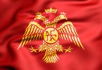 3D Flag of Palaiologos dynasty. Byzantine eagle. 3D Illustration.