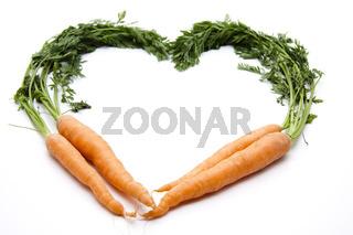Karotten in Herzform