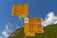 Signpost for hiking trails on the Furkapass, Valais, Switzerland