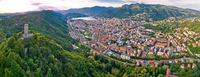 Town of Como and Baradello tower aerial panoramic view