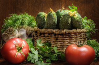 fresh vegetables on a dark wooden background in a rustic style
