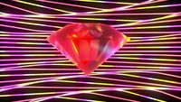 Sparkling diamond surrounded by twisting stripes abstract background.