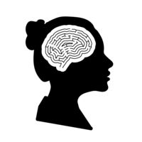 Black detailed woman face profile with maze brain in head on white