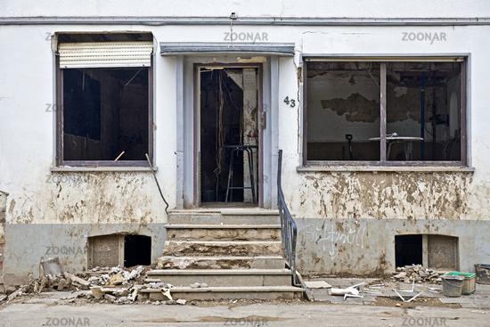 Destroyed house on redwine road, flood disaster 2021, Ahr Valley, Dernau, Germany, Europe