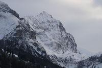 Peak of Mount Arpelistock in winter, Swiss Alps.