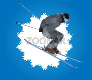 flying skier and snowflake, vector