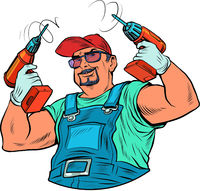 A male worker with a drill. Carpenter or builder, repair. Home power tools