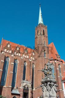 Kreuzkirche mit Nepomuk-Denkmal, Wroclaw (Breslau)