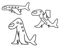 Airplane Animal Line Cartoon