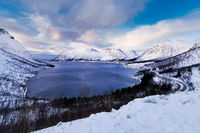 view from Bergsbotn viewpoint to Nordfjorden with dramatic clouds