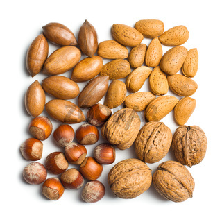 various unpeeled nuts