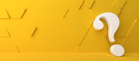 Fine 3d concept with a white question mark icon on yellow triangles