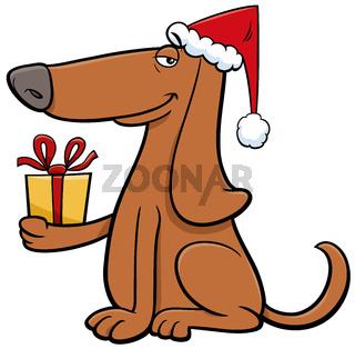 cartoon dog with present on Christmas time