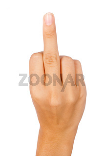 Hand showing a middle finger