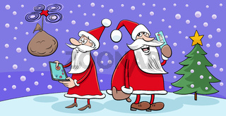 greeting card with Santa Claus at work on Christmas Time
