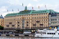 Grand Hotel of Stockholm. Exterior view from the sea.