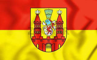 3D Flag of Demmin (Mecklenburg-Vorpommern), Germany. 3D Illustration.