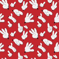 Many hands of Santa on a red background, seamless