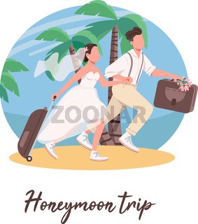Just married couple first travel social media post mockup