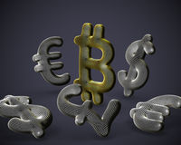 3D Bitcoin cryptocurrency logo surrounded by fiat currencies signs