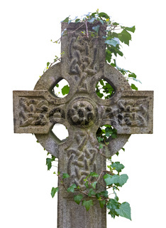 Isolated Celtic Cross Gravestone With Ivy