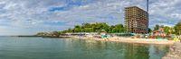 Illegal construction on Golden coast beach in Odessa, Ukraine