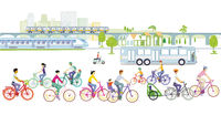 Transport by train, bike and bus, public transport